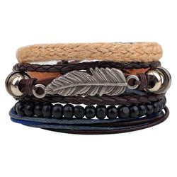 ER Vintage Tribal Bohemian Feather Bracelet Boho Silver Alloy Leaf Bracelet Cuff Men Leather Braclet Femme Male Wrist Band LB143 - onlinejewelleryshopaus