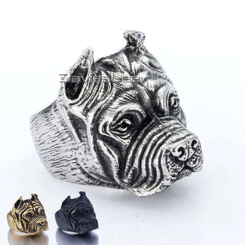 Unique Gift Mens Ring  Boys Punk Pitbull Bulldog Animal Silver Tone 316L Stainless Steel Ring Wholesale Jewelry DLHR106 - onlinejewelleryshopaus