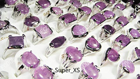 15Pcs/lot Natural Amethyst Stone Silver Plated Rings For Women Fashion Bezel Setting Whole Jewelry Ring Lots LR022 Free Shipping - onlinejewelleryshopaus