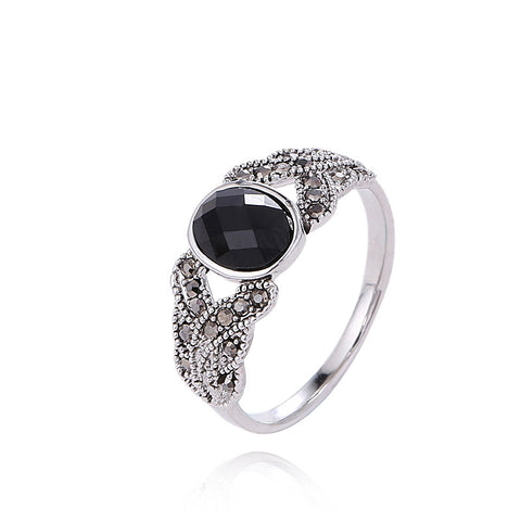 Hot Sale Design Fashion Jewelry Antique Silver Plated Vintage Black Crystal Rings For Women 2016 - onlinejewelleryshopaus
