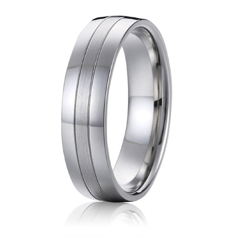 Top quality Classic Europe Western design White Gold Style aircraft grade titanium wedding bands promise rings for men - onlinejewelleryshopaus
