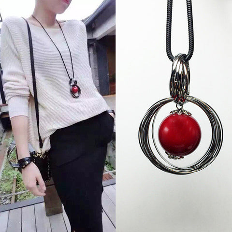2015 New Arrival Women Pendant Necklaces Autumn And Winter Sweet All-match Long Necklace Beads Circle Red Sweater Chain - onlinejewelleryshopaus
