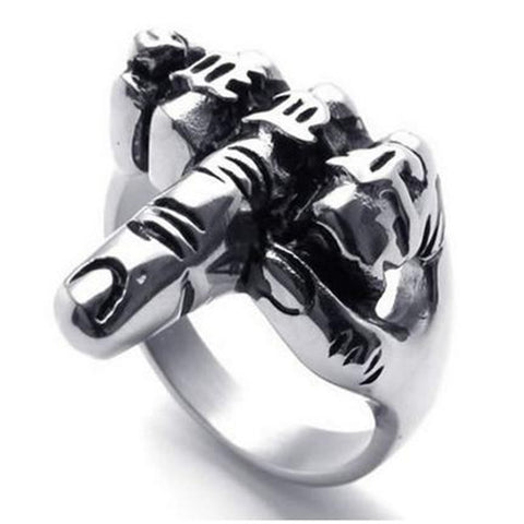 Men's Biker Middle Finger Up Stainless Steel Ring, Silver Black - onlinejewelleryshopaus