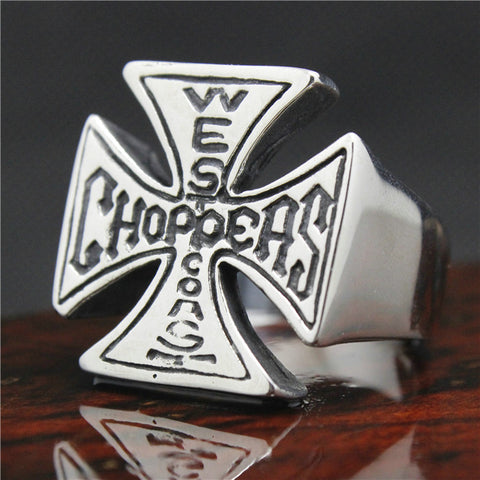 Top Sales Mens 316L Stainless Steel Biker Ring Mini Choppers Motor Cycling Ring - onlinejewelleryshopaus