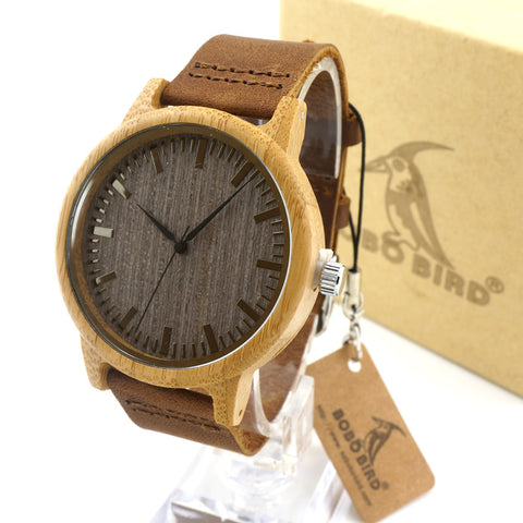 BOBO BIRD A18 Luxury Brand Wood Watches Men Casual Leather Women Bamboo Wristwatch Relogio Masculino Hombre 2016 - onlinejewelleryshopaus