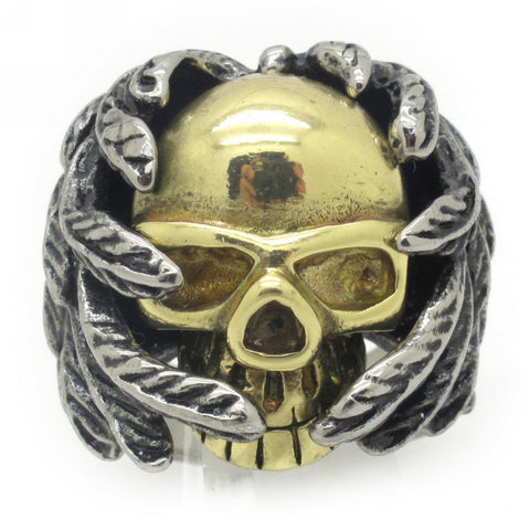 Huge Men's Stainless Steel Biker Rings Fashion Jewelry, Wholesale + Free Shipping, Top Sale Gold and Silver Leaf Skull Ring - onlinejewelleryshopaus