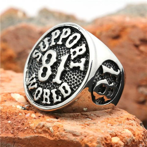 2015 Cool 316L Stainless Steel Silver Biker 81 Support World Ring Mens Motorcycle Biker 81 Ring - onlinejewelleryshopaus