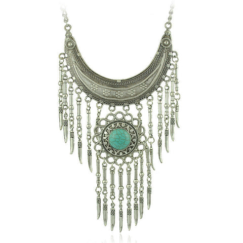 2015 Bohemian Jewelry Vintage Long Pendant Necklace Antique Silver Chain Gypsy Tribal Ethnic Turkish Statement Women Jewelry - onlinejewelleryshopaus