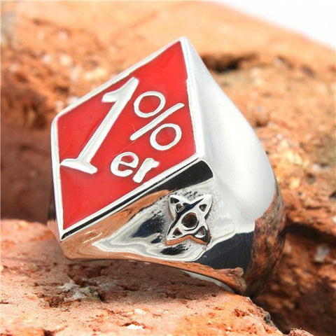 316L Stainless Steel Red Polishing Biker 1%er Ring Mens Motorcycle 1%er Biker Ring Cool - onlinejewelleryshopaus