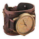 2016 Men Fashion Belt Watch Quartz Watch New Style Retro Punk Rock Brown Big Wide pu Leather Bracelet Cuff Men Watch Cool yj - onlinejewelleryshopaus