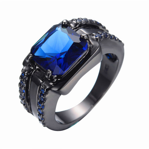 Men's Fashion Jewelry Finger Rings 14KT Black Gold Filled Ring Size 6/7/8/9/10/11/12 Blue New Arrive RB0074-6-12 - onlinejewelleryshopaus