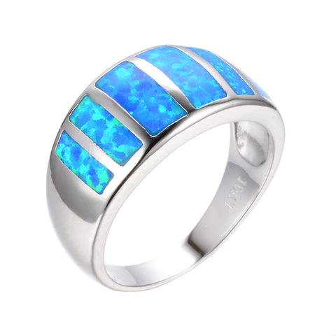 2016 Fashion Jewelry Size 6/7/8/9 Vintage Ocean Blue Fire Opal Ring 10KT White Gold Filled Women Wedding Engagement Rings RP0062 - onlinejewelleryshopaus