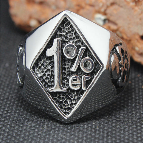 2015 Cool 316L Stainless Steel Silver Biker 1% er Skull Ring Mens Motorcycle Biker Band Party Ring - onlinejewelleryshopaus
