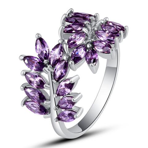 Fancy New Fashion Olive Branch Design Rings Women Jewelry 925 Silver Ring Amethyst Size 6 7 8 9 10  Wholesale Free Shipping - onlinejewelleryshopaus