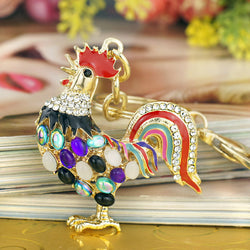 Pretty Chic Opals Cock Rooster Chicken Keychains Crystal Bag Pendant Key ring Key chains Christmas Gift Jewelry Llaveros K131 - onlinejewelleryshopaus
