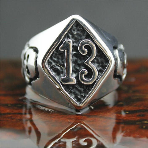 2015 Cool 316L Stainless Steel Silver Biker 13 Skull Ring Mens Motorcycle Biker Band Party 13 Skull Ring - onlinejewelleryshopaus
