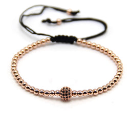 Anil Arjandas Fashion Women Bracelet Rose Gold  4mm Round Beads Braiding Men Macrame Bracelet & Bangle - onlinejewelleryshopaus