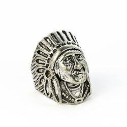 Indian Chief Ring Punk Cool Biker Motorcycle Skull Ring