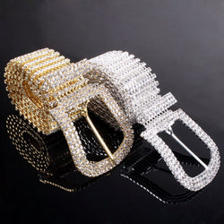 Fashion Women Ladies Waist Hip Belt Crystal Rhinestone Waistband Metal Buckle Party waist chain - onlinejewelleryshopaus