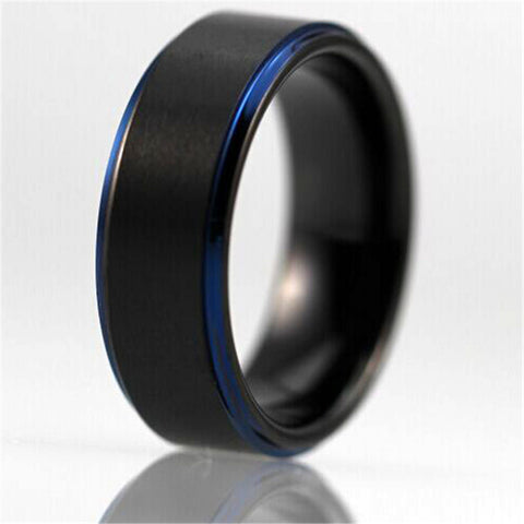 Free Shipping Customs Engraving Ring Hot Sales 8MM Black Matte Center Blue Steps Comfort Fit Design Men's Tungsten Wedding Ring - onlinejewelleryshopaus