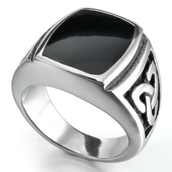 Men's Women's Infinite Knot Black Enamel Signet 316L Stainless Steel Biker Ring Silver Tone  Wholesale Free Shipping - onlinejewelleryshopaus