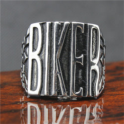 316L Stainless Steel Silver BIKER Ring Mens Motorcycle Biker Band Party Mens Ring - onlinejewelleryshopaus