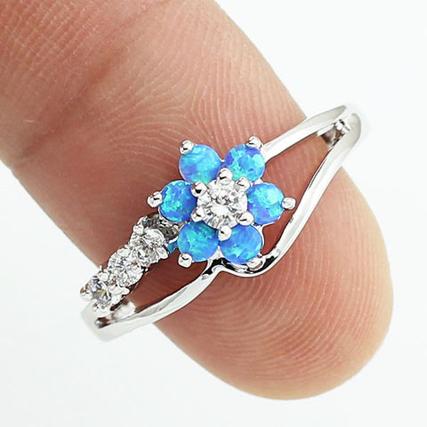 2016 New Tiny Cute Blue Fire Opal Stones Flower Women Opal Rings Size 5-8.5  Free Shipping With Tracking Number 11W - onlinejewelleryshopaus