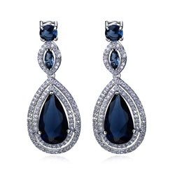 Women Earring big Drop Earrings rhodium plated with CZ stone Romantic style jewelry High quality Free ment - onlinejewelleryshopaus