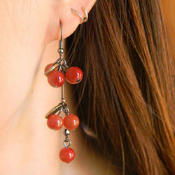 arrival 2015 vintage retro cute gold cherry bohemia earrings long women hanging earring jewelry - onlinejewelleryshopaus