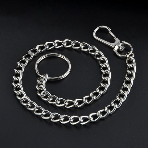 Extra Long Metal Keyring Keychain Silver Chain Hipster Key Wallet Belt Ring Clip Free shipping - onlinejewelleryshopaus