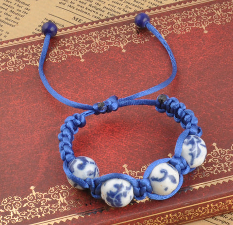 New Braided rope 4Pieces blue and white porcelain Beads Bracelets Adjustable Accessories Jewelry Prayer  Bracelet - onlinejewelleryshopaus