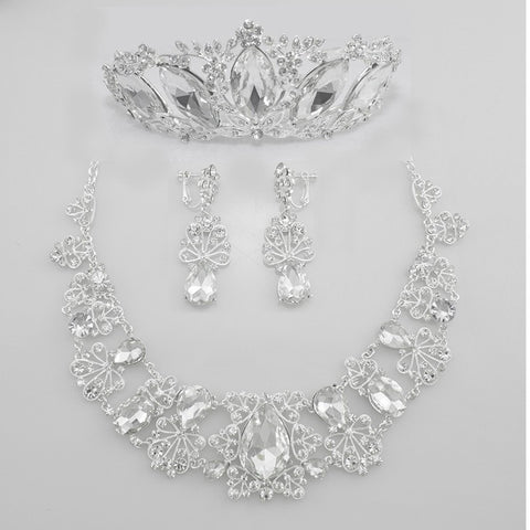 Hollow Flower Crystal Bridal Jewelry Set Tear Drop Rhinestone Luxurious Bib Statement Necklace/Earring/Tiara wedding accessories - onlinejewelleryshopaus