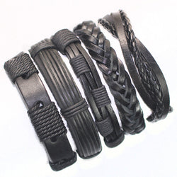 FL24-5pcs black wristband genuine braided wrap leather bracelets men 2015 bangles for women femme pulseira masculina couro mujer - onlinejewelleryshopaus