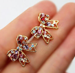 Cute Fashion Graceful Colorful Rinestone Bowknot Stud Earrings Studs Bow Earring E127 - onlinejewelleryshopaus
