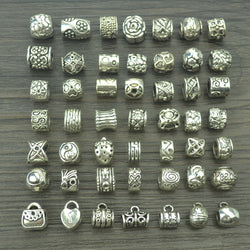 Mix 49pcs antique tibetan silver charms big hole beads for European bracelets jewelry making diy supplies z42532 - onlinejewelleryshopaus