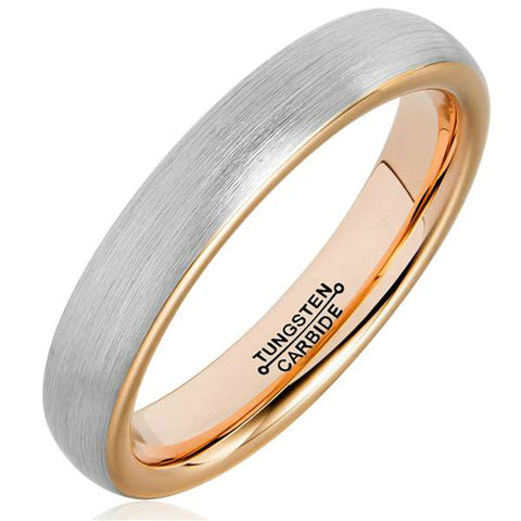 Tungsten Wedding Band Rings 4mm for Man Woman Comfort Fit Rose Gold Plated Domed Brushed - onlinejewelleryshopaus