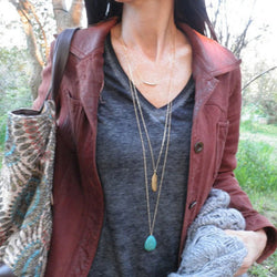Simple Layered Necklace of 3 Drops Turquoise stone Feather Necklaces XL278 - onlinejewelleryshopaus