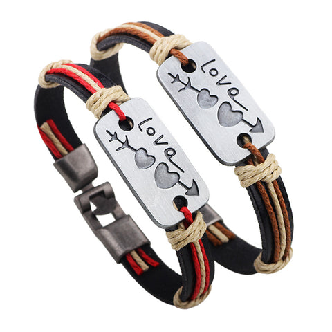 1 pair/lot Leather Wristband Bracelets Zinc Alloy Brand Cupid Sword Lover's Bangles Couple Leather Bracelets for Valentine's Day - onlinejewelleryshopaus