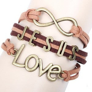 12pcs/lot Hot Christian Infinity Jesus Love Charm Bracelet BBF Jewelry Wholesale Fashion Multilayer Brown Leather Bracelet LB051 - onlinejewelleryshopaus