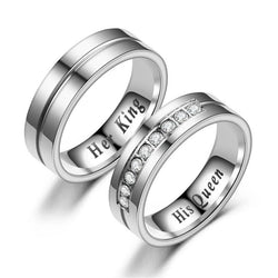 "New Titanium Romantic Couple Ring ""His Queen"""" Her King"" DIY Engraved"