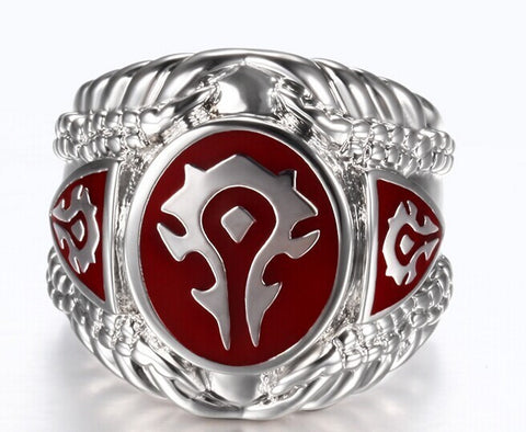 1 pc Red Black Color Fashion Jewelry World of Warcraft 316L Stainless Steel Hot WOW Ring - onlinejewelleryshopaus