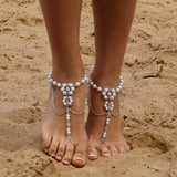 1pc Bridal Barefoot Sandals Pearl Multi-Layer Anklet Wedding Beach Foot Jewelry Boho Accessory - onlinejewelleryshopaus