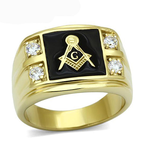New Arrival Men's Stainless Steel CZ Masonic Ring AAA Quality Cubic Zirconia Ionic Gold  Environmental Material Men Rings - onlinejewelleryshopaus