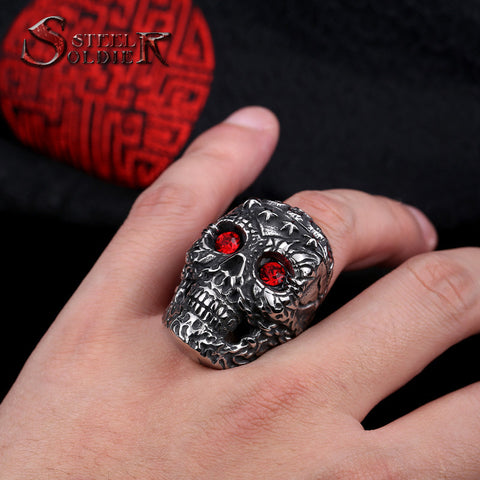 Steel soldier arrival stainless steel men punk skull jewelry vintage high quality men skull ring - onlinejewelleryshopaus