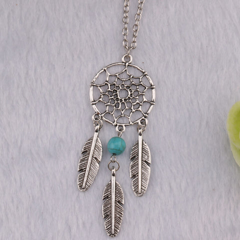 10pcs New Fashion Hot Dream Catcher Jewelry Ancient Silver Dreamcatcher&Turquoise Bead Feather Charm Pendant&Necklace Vintage - onlinejewelleryshopaus