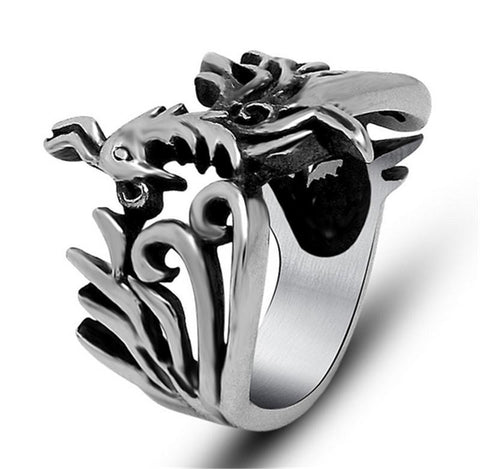 Vintage Punk Stainless Steel Mayan Phoenix Bird Ring Expendables Skull 316L Stainless Steel For Men Ring Party Birthday Jewelry - onlinejewelleryshopaus