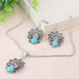 Free Shipping Jewelry Sets Bohemian Retro National Peacock Turquoise Pendant Necklace Earrings Suit Wholesale - onlinejewelleryshopaus