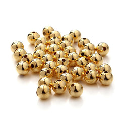100pcs/lot 6mm Gold Silver Rose Gold Plated Round Space Loose Beads For Jewelry Making DIY Bracelets & Necklaces Wholesale F3173 - onlinejewelleryshopaus