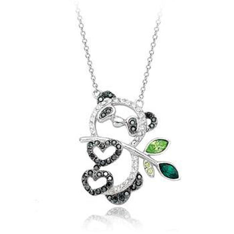 100% Austria Crystal Italina Rigant Platinum Plated Panda Pendant Necklace Jewelry - onlinejewelleryshopaus