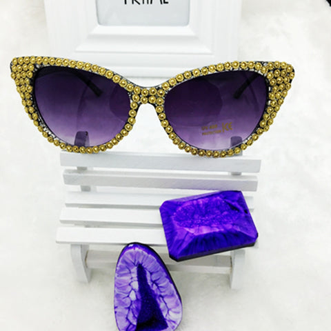 2016 New Brand Crystal Diamond Cat Eye Sunglasses Women Luxury Famous Designer Vintage Mirror Sun Glasses For Ladies - onlinejewelleryshopaus